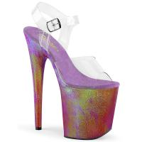 FLAMINGO-808WR Pleaser high heels ankle strap sandal clear purple holographic wrapped platform