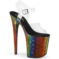 FLAMINGO-808WR Pleaser high heels ankle strap sandal clear rainbow hologram with hearts