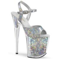 FLAMINGO-809HS vegan Pleaser high heels ankle strap sandal silver holographic stars and inserts