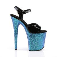 FLAMINGO-809LG Pleaser high heels platform sandal black patent blue multi glitter