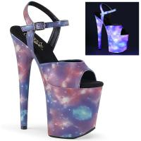 FLAMINGO-809REFL Pleaser high heels ankle strap sandal reflective galaxy effect purple-blue