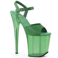FLAMINGO-809T Pleaser high heels platform sandal green frosted