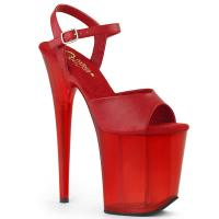 FLAMINGO-809T Pleaser high heels platform sandal red frosted