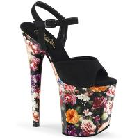 FLAMINGO-809WR Pleaser high heels ankle strap sandal black suede flower print wrapped