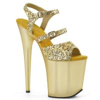 FLAMINGO-874 Pleaser High-Heels Plateausandaletten gold glitter gefrostet