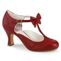 FLAPPER-11 Pin Up Couture Lochmuster T-Riemchen Schleifen Pumps rot Lederlook