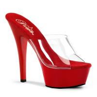 KISS-201 Pleaser high heels platform mules clear red