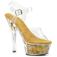 KISS-208GF Pleaser High-Heels Plateausandaletten klar gold Multiglitter