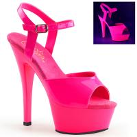 KISS-209UV Pleaser high heels platform sandal neon uv reactive hotpink