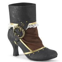 MATEY-115 Funtasma ankle boot black distressed gold trims studs black brown