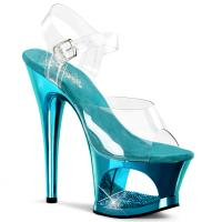 MOON-708DMCH Pleaser high heels sandal cut-out platform clear turquoise chrome rhinestone