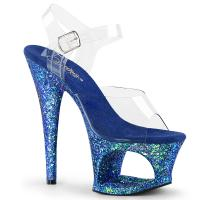 MOON-708LG Pleaser high heels sandal cut-out platform clear blue multi glitter