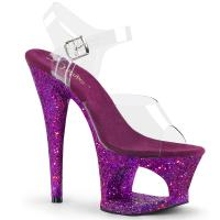 MOON-708LG Pleaser high heels sandal cut-out platform clear purple multi glitter