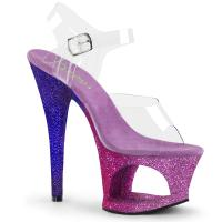 MOON-708OMBRE Pleaser high heels sandal cut-out platform clear fuchsia-blue ombre