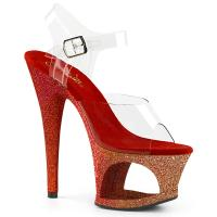 MOON-708OMBRE Pleaser high heels sandal cut-out platform clear rose gold-red ombre