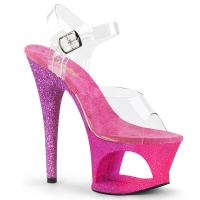 MOON-708OMBRE Pleaser high heels sandal cut-out platform clear pink-lavender ombre