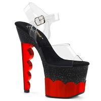 SCALLOP-708-2HGM Pleaser high heels platform ankle strap sandal clear black red hologram