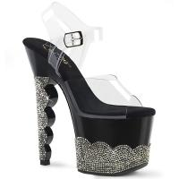 SCALLOP-708-2RS Pleaser high heels platform ankle strap sandal clear black pewter rhinestone