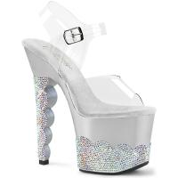 SCALLOP-708-2RS Pleaser high heels platform ankle strap sandal clear silver rhinestone