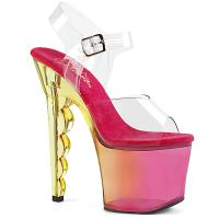 SCALLOP-708MCT Pleaser high heels platform ankle strap sandal clear pink tinted ombre