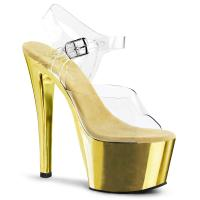 SKY-308 Elegante Pleaser High-Heels Plateausandaletten transparent gold Chrom