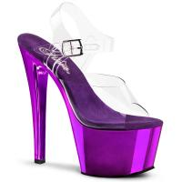 SKY-308 Elegante Pleaser High-Heels Plateausandaletten transparent lila Chrom