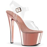 SKY-308 sexy Pleaser High-Heels Plateausandaletten transparent rosegold Chrom