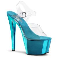 SKY-308 erotische Pleaser High-Heels Plateausandaletten transparent türkis Chrom