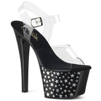SKY-308CP-1 Pleaser high heels platform ankle strap clear black with chrome stars