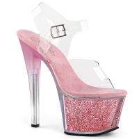 SKY-308G-T Pleaser tinted high heels platform ankle strap sandal clear baby pink multi glitter