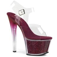 SKY-308G-T Pleaser tinted high heels platform ankle strap sandal clear berry multi glitter
