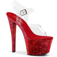 SKY-308LG Pleaser high heels platform ankle strap sandal clear red glitter