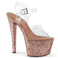 SKY-308LG Pleaser high heels platform ankle strap sandal clear rose gold glitter