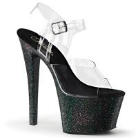SKY-308MG Pleaser high heels platform ankle strap sandal clear black mini glitter