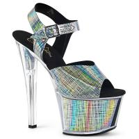 SKY-308N-CRHM Pleaser high heels platform sandal black crosshatch hologram