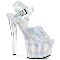 SKY-308N-CRHM Pleaser high heels platform sandal silver crosshatch hologram