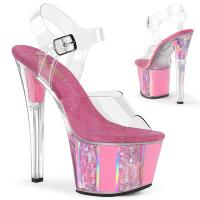 SKY-308OF Pleaser High Heels ankle strap sandal opal flake ornaments clear baby pink