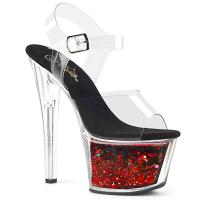 SKY-308WHG Pleaser high heels platform ankle strap clear black-red flowing liquid