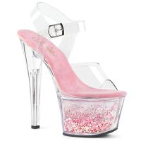 SKY-308WHG Pleaser high heels platform ankle strap clear baby pink flowing liquid