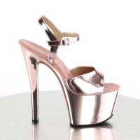 SKY-309 Pleaser High-Heels Plateausandaletten rosegold Metallic Chrom