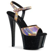SKY-309HG Pleaser high heels platform ankle strap sandal rose gold hologram black mini glitter