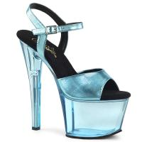 SKY-309MT Pleaser high heels platform sandal baby blue metallic tinted