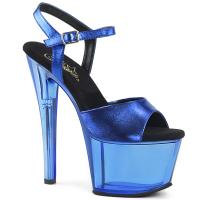 SKY-309MT Pleaser High-Heels Plateausandaletten blau Metallic mit Tönung