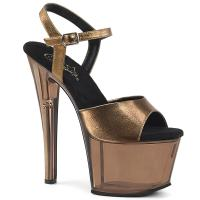 SKY-309MT Pleaser High-Heels Plateausandaletten bronze Metallic mit Tönung