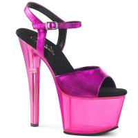 SKY-309MT Pleaser high heels platform sandal fuchsia metallic tinted