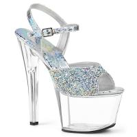 SKY-309RS Pleaser High-Heels Sandaletten silber mit Hologramm-Strass transparent