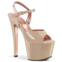 SKY-309TT Pleaser High-Heels Bi-Color Plateausandaletten haut Lack rosegold chrom