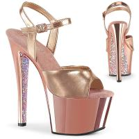 SKY-309TTG Pleaser high heels platform ankle strap sandal rose gold chrome glitter
