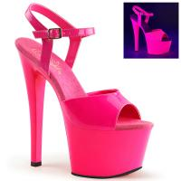 SKY-309UV Pleaser high heels platform ankle strap sandal neon uv hot pink patent