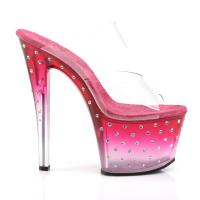 STARDUST-702T Pleaser high heels tinted platform two band slide hot pink-clear rhinestones